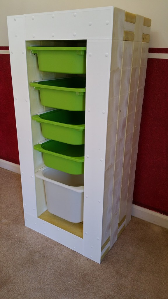 organizer with bins in
