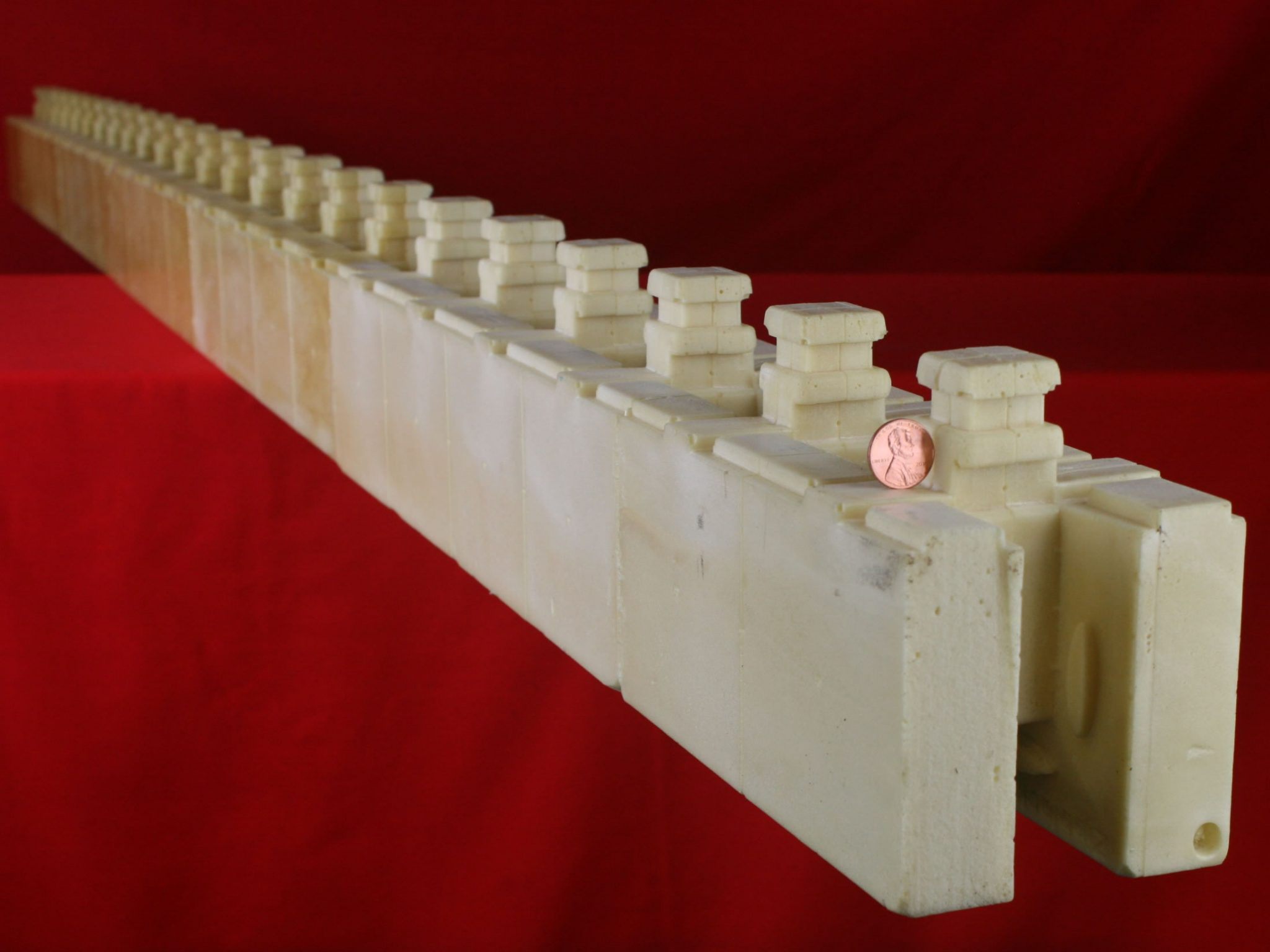 Eight foot long interlocking polyurethane foam building for Foam block construction
